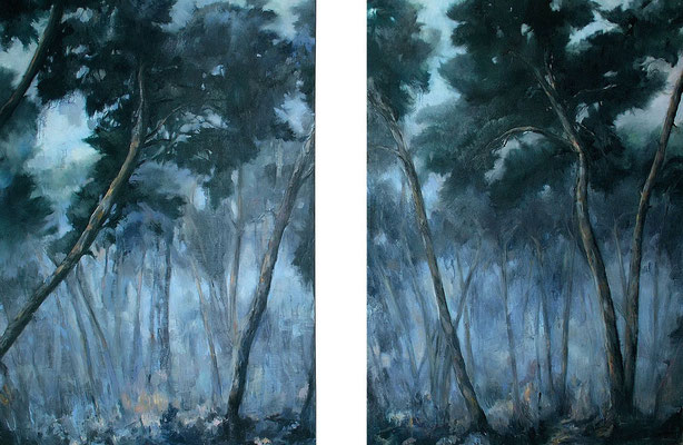 Kiefern, 2012, Öl auf Leinwand, je 160 x 115 cm,