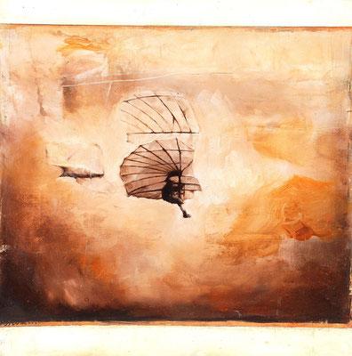 Flieger, 2016, Öl auf Holz, 40 x 40 cm