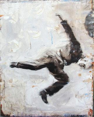 Gedankensprung, 2018, Öl auf Holz, 25 x 20 cm,