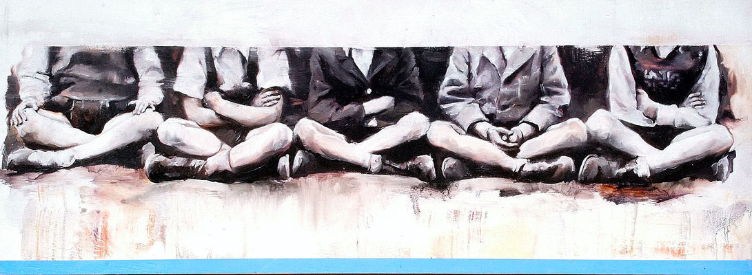 Heroes, 2020, Öl auf Holz, 20 x 53,7 cm