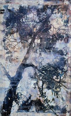 Pinie, 2014, Öl/Holzschnitt auf Leinwand, 145 x 120 cm