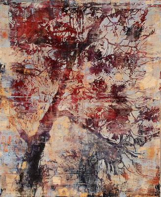 Pinie , 2014, Öl/Holzschnitt auf Leinwand, 160 x 100 cm,