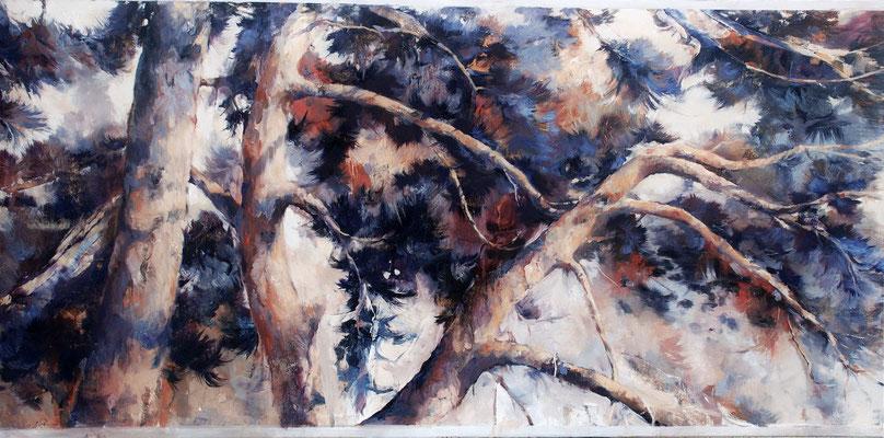 Pinie II, 2019, Öl auf Leinwand, 80 x 160 cm
