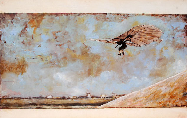 Der Flug, 2016, Öl auf Holz, 44 x 70 cm