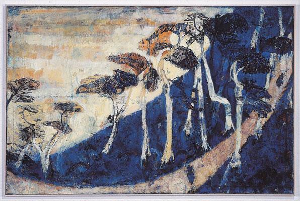 Japanische Landschaft, nach Hiroshige, 1999, Holzschnitt / Öl auf Leinwand, 105 x 160 cm