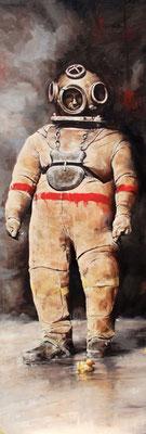 Der Taucher II, 2020, Öl auf Leinwand, 200 x 70 cm