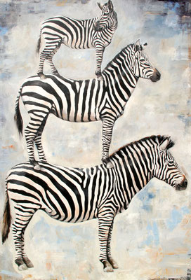 Zebras, 2018, Öl auf Leinwand, 180 x 130 cm,