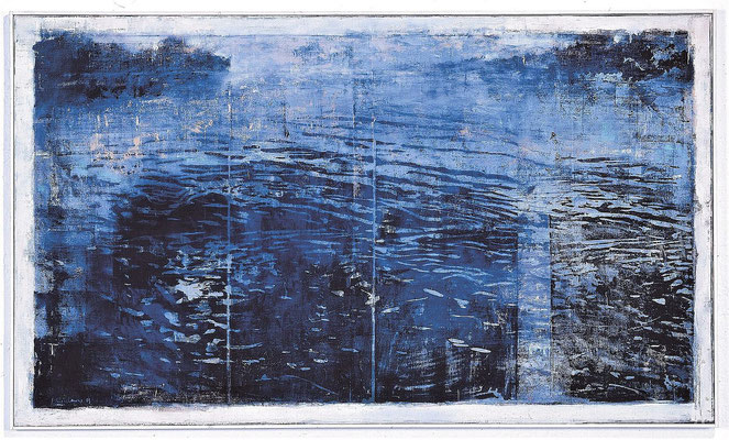 See, 2003, Holzschnitt / Öl auf Leinwand, 85 x 145 cm
