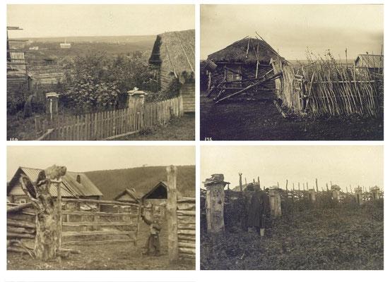 """Village et apiculture en """"tronc"""" chez les Bashkirs - Photographie 1909"""