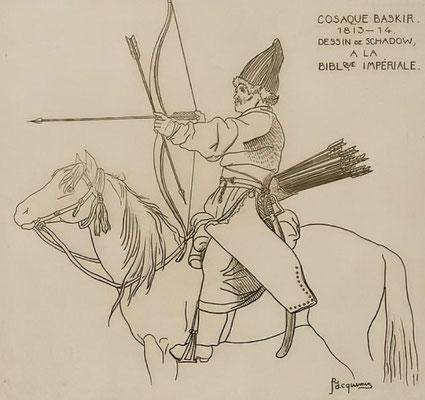 """Les bashkirs furent parmi les derniers """"nomades"""" à faire usage de l'arc à la guerre. """"Bashkir Cossack, 1813-1814"""" Dessin de Raphael Jacquemin (1820-1881) d'après un dessin de Johann Gottfried Schadow (1764-1850)"""