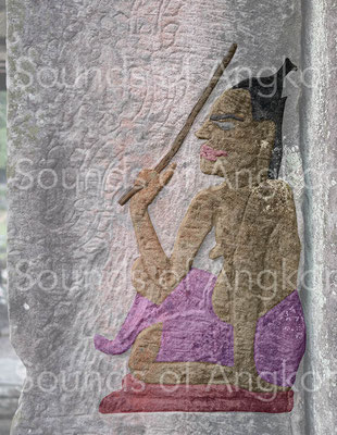 Bayon. Female dance master with a stick