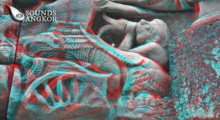 Le joueur de conque, version anaglyphe. Nécessite des lunettes rouge et bleu pour un rendu en relief.