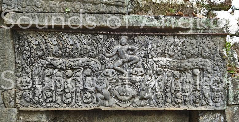 Linteau ouest du sanctuaire U de Preah Pithu.