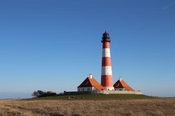 Der berühmte Leuchtturm von Westerhever auf Eiderstedt
