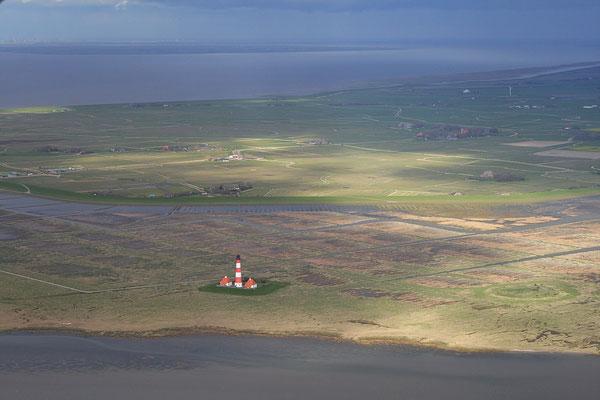 Der Westerhever Leuchtturm aus der Luft