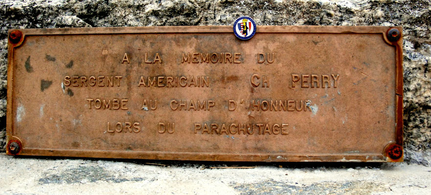 "Sgt. Charles R. Perry's memorial at the landing site ""Les Saisies"""