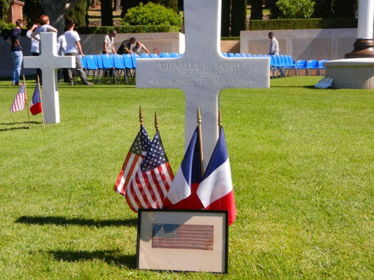 Charles R. Perry's grave at the Rhone American Cemetery and Memorial - 2014