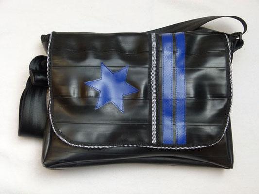 Messenger-Tasche-Umhängetasche-recycelt-Fahrradschlauch-|Reflektor-Marion Kienzle Upcycling & Design-Unikat-nachhaltig-