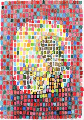 Madonna con bambino_china e acquerello su cartoncino_297x210 mm_2017