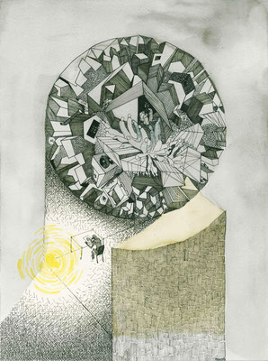Fuor di metafora_china e acquerello su cartoncino_380x280 mm_2017