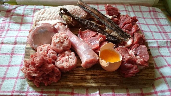 Putenteilchen, Rind- und Lammsticks, Eigelb