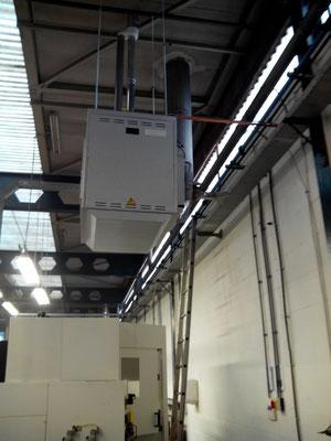 Installatie MARK luchtverwarming bedrijfshal