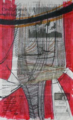 Mood, Scotland 2008 Zeitungspapier (Scotland on Sunday), Filzstifte, Marker, Fineliner 60 x 37 cm, Dopplebogen