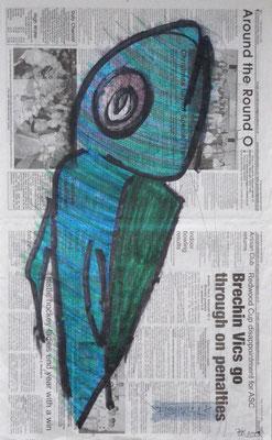 Fishwalk, Scotland 2008 Zeitungspapier (Arbroath Herald), Filzstifte, Marker, Fineliner 60 x 36,5 cm