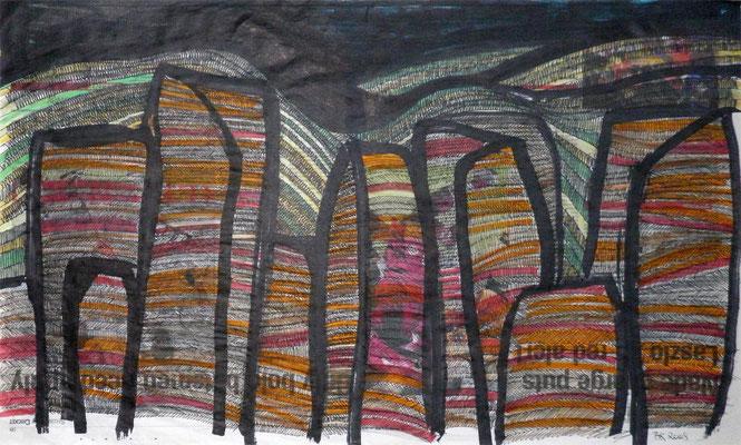 Craggy, Scotland 2008 Zeitungspapier (Scotland on Sunday), Filzstifte, Marker, Fineliner 60 x 37 cm