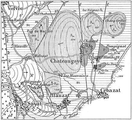 Cartographie de 1909 par Philippe Glangeaud (1866-1930)