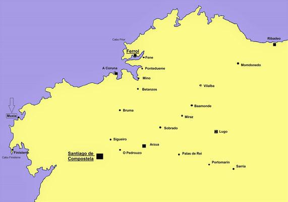 Muxia liegt nord-ostlich von Santiago in Provinz A Coruna