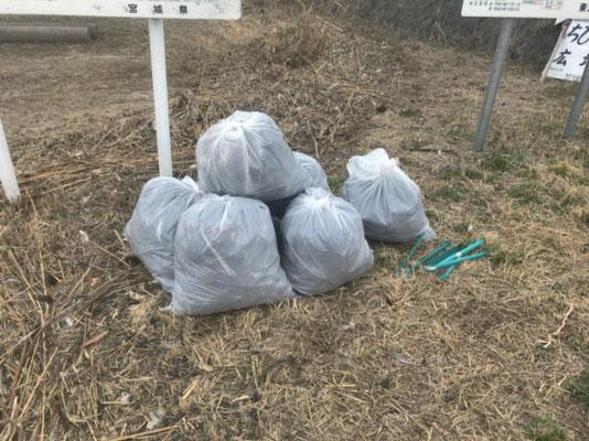 ゴミの様子(実際20袋程度回収しました)