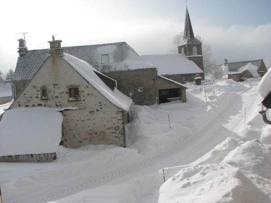 Village de la Godivelle sous la neige