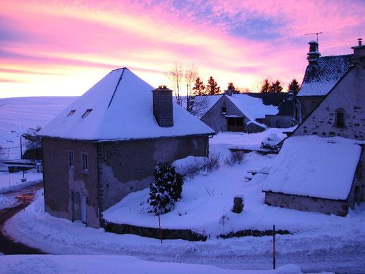Lever de soleil en hiver à la Godivelle
