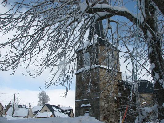 Eglise St Blaise de la Godivelle en hiver