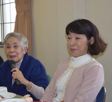靖さんが森牧師歓迎の言葉をイースターの愛餐会で お隣はお嬢さんの薫さん