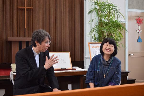 2016年4月か5月、JCのインタビュー礼拝の奉仕を引き受けてくれた明美さんです この日、寿子さんが初めて礼拝に来られたことを記憶
