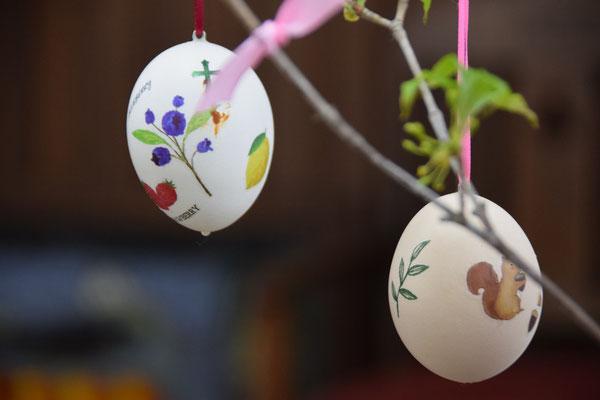 トップの写真に置いたのがこの一枚です。空飛ぶイースターエッグ。本物の卵たちですよ。