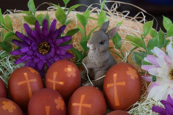 旭東教会の2016年のイースターエッグはこちら。タマネギ染めのイースターエッグです。ウサギさんもやって来て素敵。