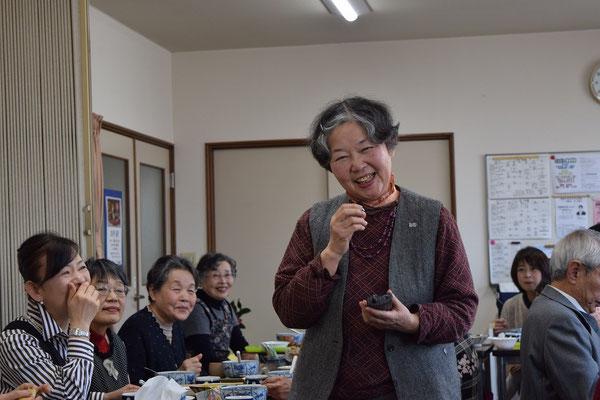 艶子さんはハンナの会を代表して幹子さんに歓迎のことば。自由に、のびのび、あなたらしく旭東教会では過ごしなさいよ、とこころからの思いを語っておられます。