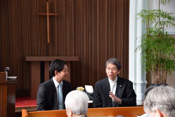 インタビューアーは森牧師が担当。