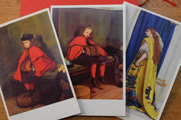 こちら、ジョン・エバレット・ミレイによる作品が牧師館にカードで見つかりました。10年近く前、とある美術館でミレイが紹介され、美樹さんが買っていたのです。左は「初めての説教」真ん中は「二回目の説教」右は「エステル」です。