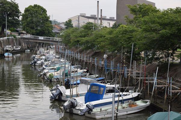 【西大寺の町並みシリーズ(その40)】2015年7月のある日、観音院裏手の吉井川支流、clickしてよーくみると、漁師さんが出入りしているのが見えますよ。何の漁にいくのかな。午後5時頃でした。答えは次の写真と関係あり。