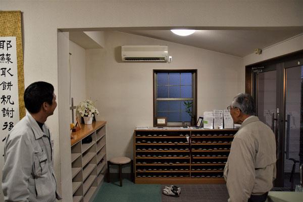 エアコンが設置されましたので、冬は建物に入るとすぐ暖かく、夏場は冷房が効いているはずです。とっても麗しい状態で、フィルターも埃がまったくなしでした。