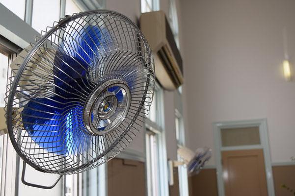 昨秋、静かに姿を消して行った壁掛け扇風機です。これに変わって、天井にシーリングファンが設置されます。