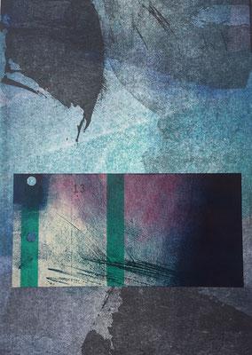 Marie -Clémentine Marès - graveur /plasticienne - Composition format A5 (cadre plexi) - 160 euros