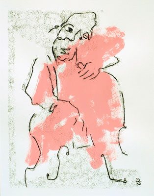 "Laurent Besson - monotype - "" contrebassiste rose  """