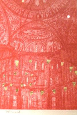 """Michelle Boucard - """" Istanboul """" Gravure + feuille de cuivre dorée"""