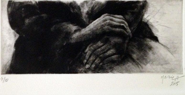 Maria Ahmadi - gravure - les mains - 30x40cm -2015