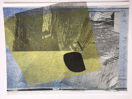 Marie -Clémentine Marès - graveur /plasticienne -  Confier son âme au fatras des étoiles - Gravure encadrée -collage de fragments gravés- 18 X 25 cm - 180 euros